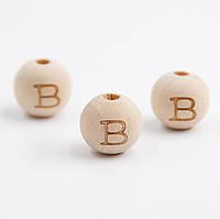"Деревянная бусина ""Буква B"" для слингобус и грызунков, 14 мм, клён"