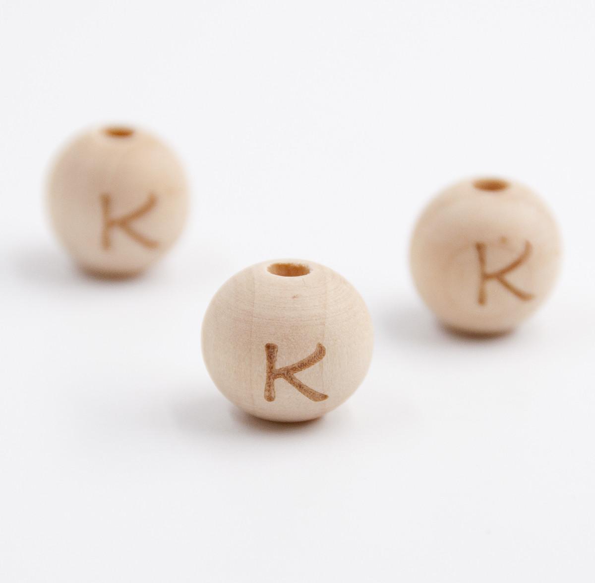 "Деревянная бусина ""Буква K"" для слингобус и грызунков, 14 мм, клён"