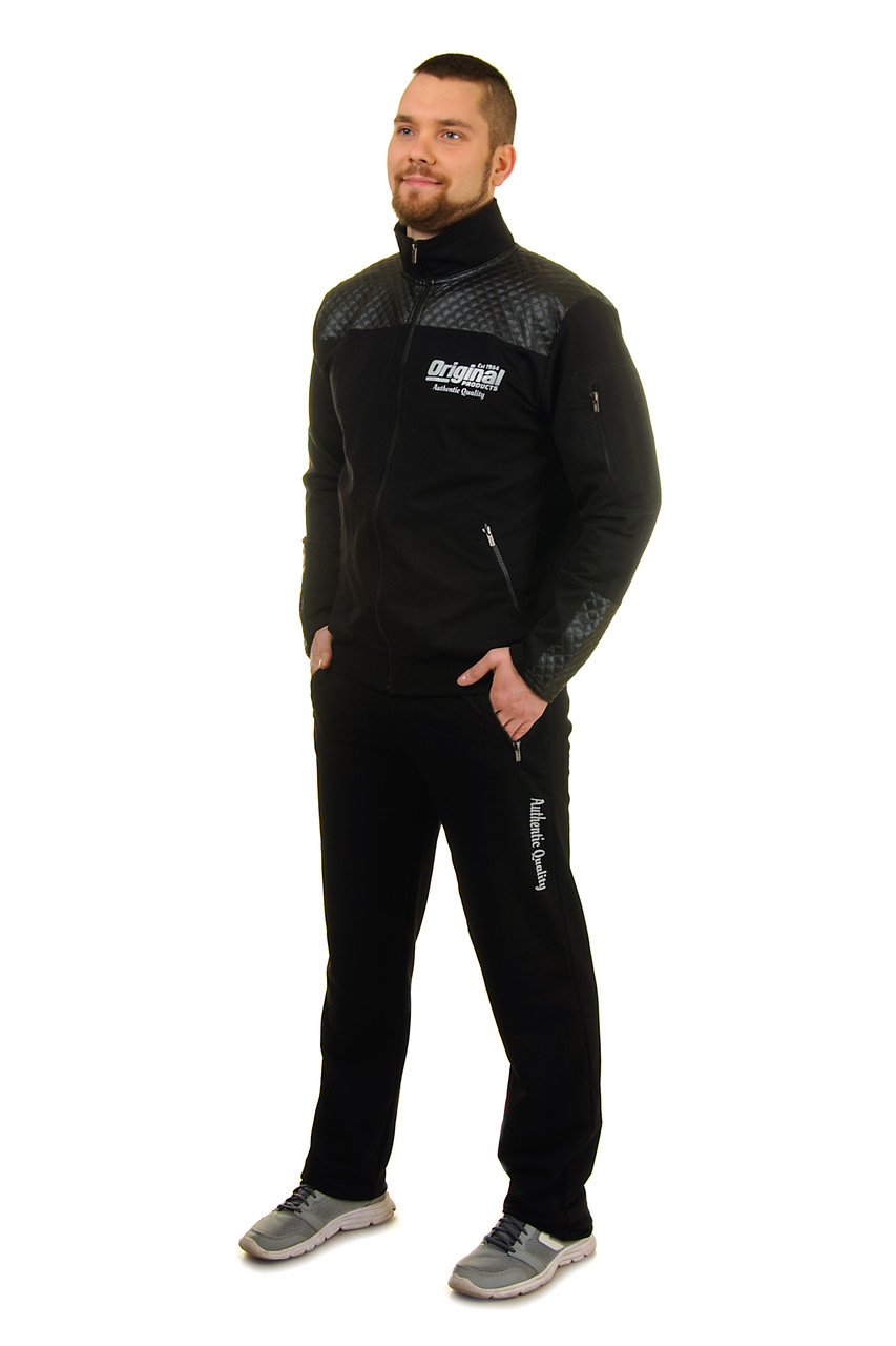 Демісезонний Чоловічий трикотажний спортивний костюм на блискавці зі вставками з еко-шкіри