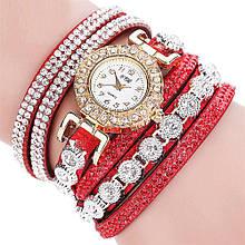 Часы наручные в стразах Duoya красные браслетом
