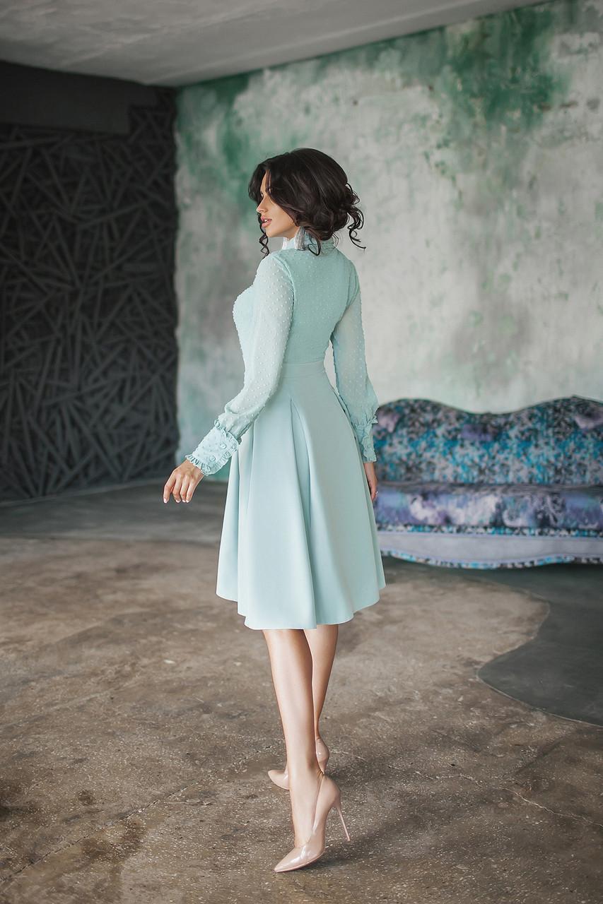 Сукня з імітацією блузи з розкльошеною спідницею із зустрічними складками Блакитний, 44
