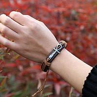 Браслет кожаный  коричневый, фото 1