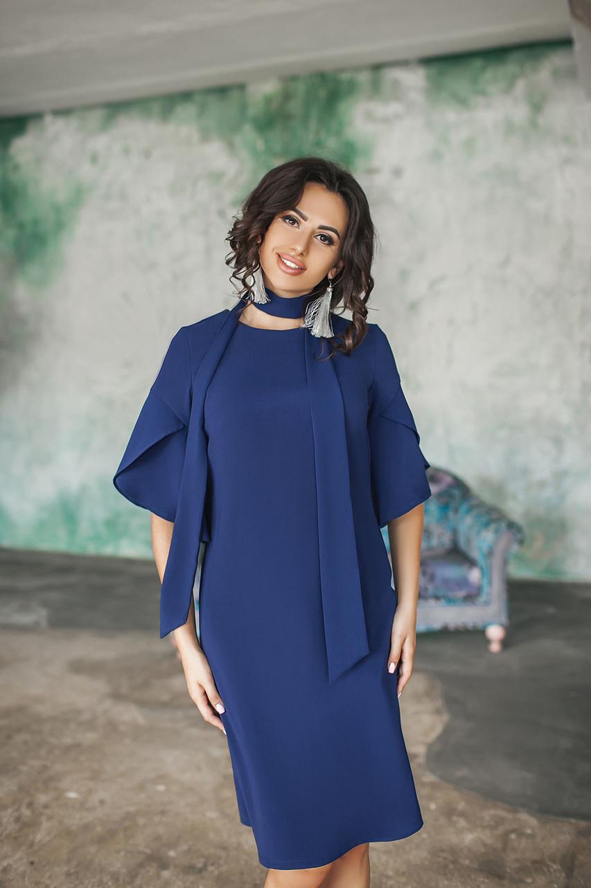 Платье женское свободного кроя с рукавами-воланами Темно-синий, 42