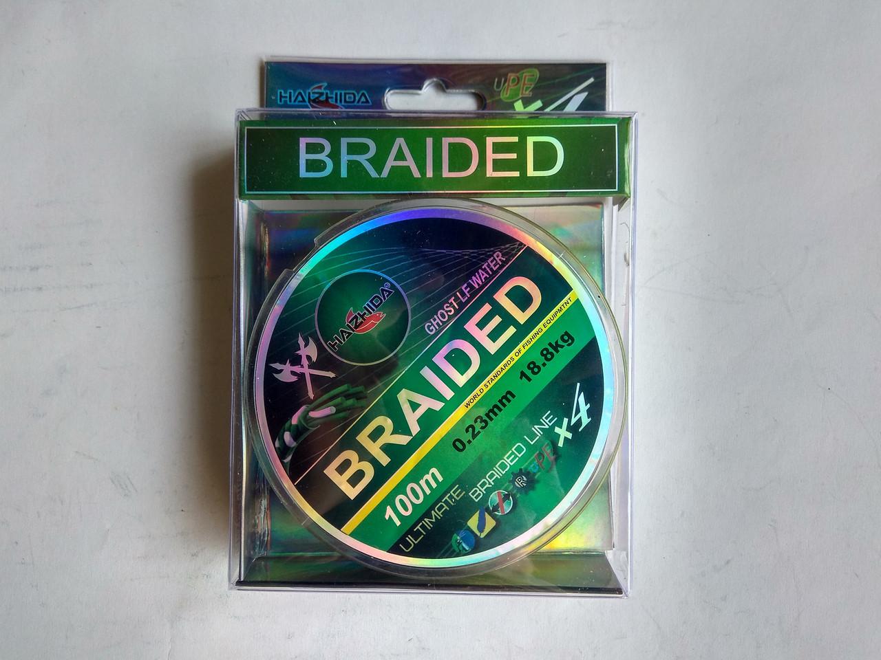 Шнур HAIZHIDA Braided 4X multicolor 100м 0.10