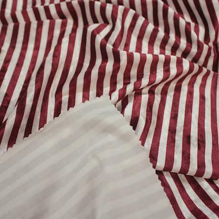 Ткань бархат мрамор принтованный полоска бордовая с белой, фото 2