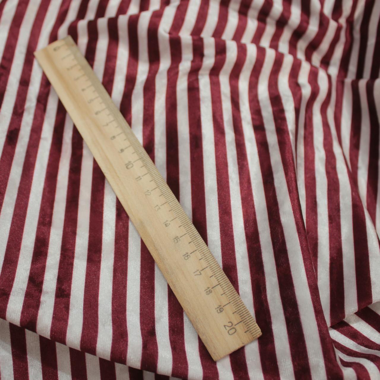 Ткань бархат мрамор принтованный полоска бордовая с белой