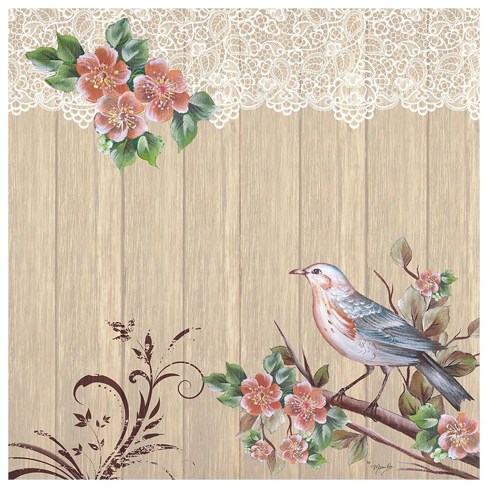 Коллекционная салфетка для декупажа Mamiko Yamashita Птица и цветущей ветке 7598