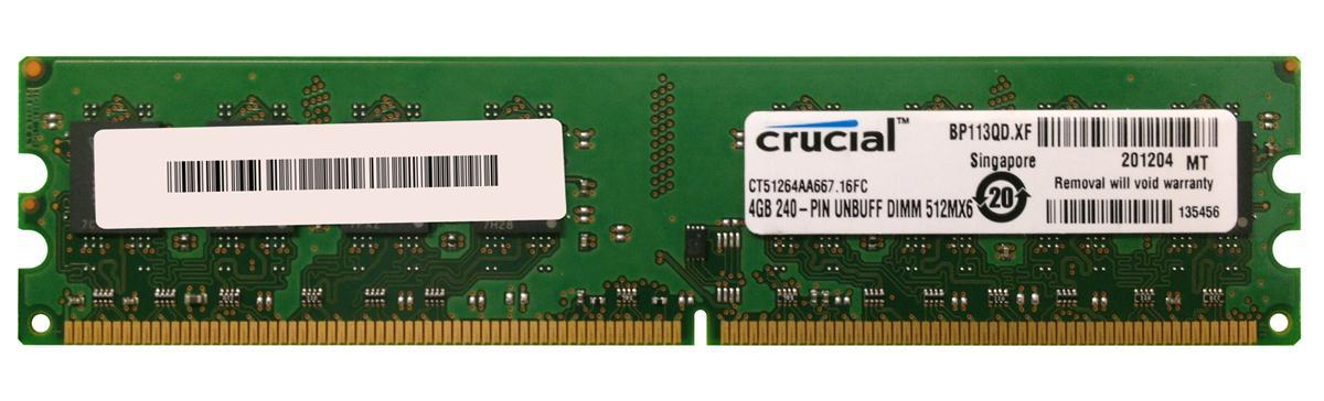 "Оперативная память Crucial DDR2 4GB 667MHz DIMM (CT51264AA667.16FC) ""Over-Stock"" Б/У"
