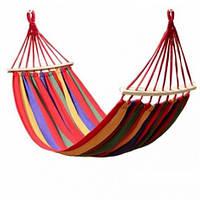 Гамак для сада 200х150 см подвесной, хлопковый, с планкой до 180 кг, гамак мексиканский, гамак летний, фото 1