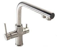 Кухонний змішувач IMPRESE DAICY 55009S-F на дві води САТІН