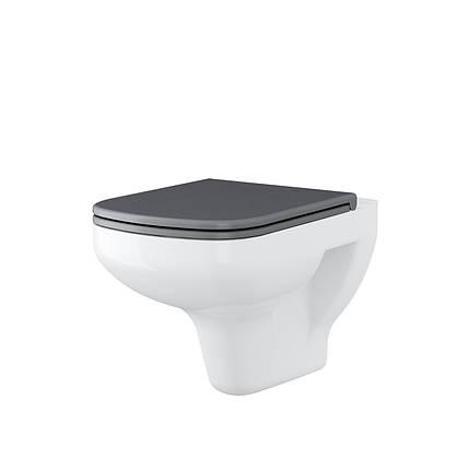 Унітаз підвісний Cersanit COLOUR з сірим вільнопадаючим дюропластовим сидінням, фото 2