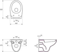 Унітаз підвісний Cersanit DELFI з поліпропіленовим сидінням, фото 2