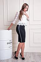 Черная женская юбка карандаш Варвара украшена лентой с шиммером