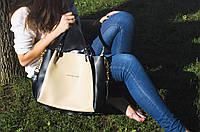 Michael Kors №11 сумка бежево-черная