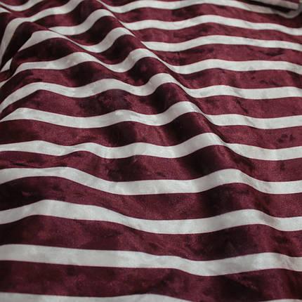 Бархат мрамор принт широкая полоска бордовая с белой, фото 2