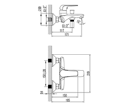 NOVA OPAVA змішувач для ванни, хром, 35 мм 10075, фото 2