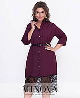 Повседневное платье большого размера украшено кружевом от Минова-  размеры:(50,52,54,56);  РОЗНИЦА +30грн;