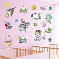 """Наклейка на стену """"космос для детей!"""" 1метр*75см наклейки в детскую (лист 50*70см) в детский сад"""