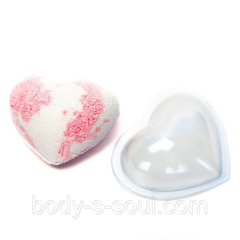 Форма для шипучек Сердце большое (d = 6,5 см, комплект из 2-х половинок)