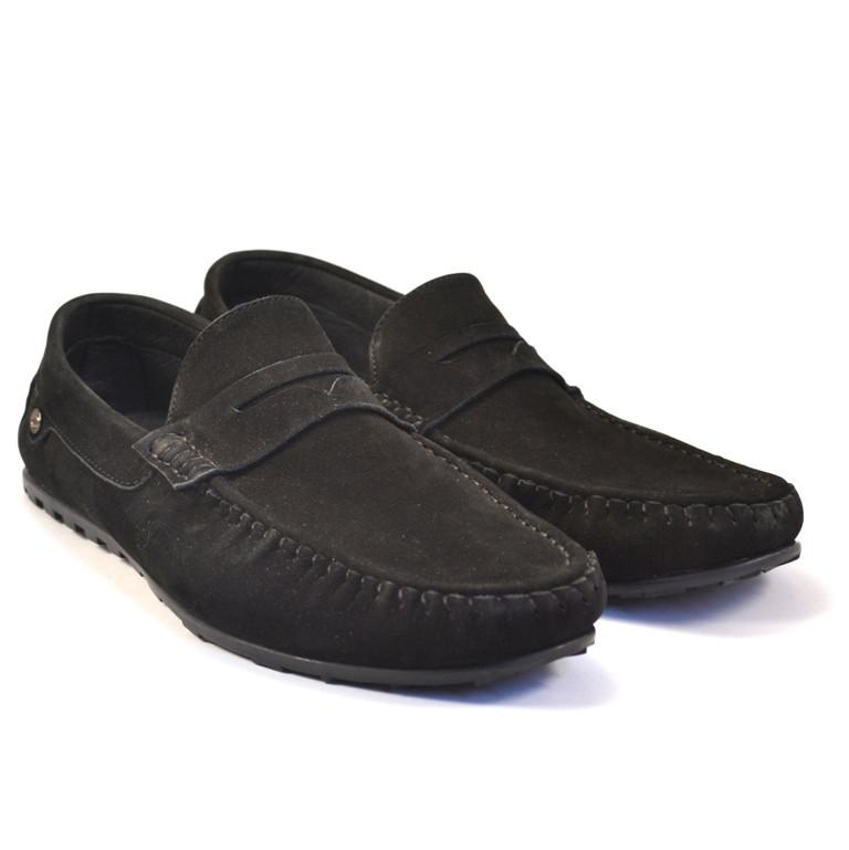 Мужские мокасины из нубука летние черные обувь ETHEREAL Classic Black Nub by Rosso Avangard