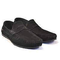 Мужские мокасины из нубука летние черные обувь ETHEREAL Classic Black Nub by Rosso Avangard, фото 1