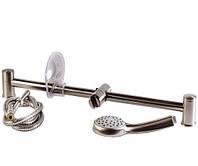 Штанга душова SATINOKS L-63 см, мильниця, ручний душ 1 режим, шланг, блістер R670SD + 1115+ W100R1 BN