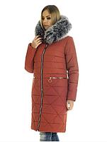 Пуховик зимний женский с мехом песец большого размера недорого в Украине интернет-магазин р. 42-56
