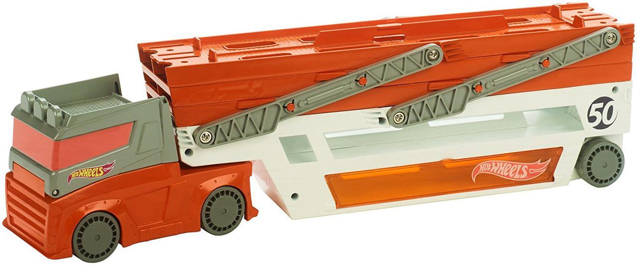 Автовоз Хот Вилс на 50 машин обновленный Hot Wheels Mega Hauler Truck-Orange
