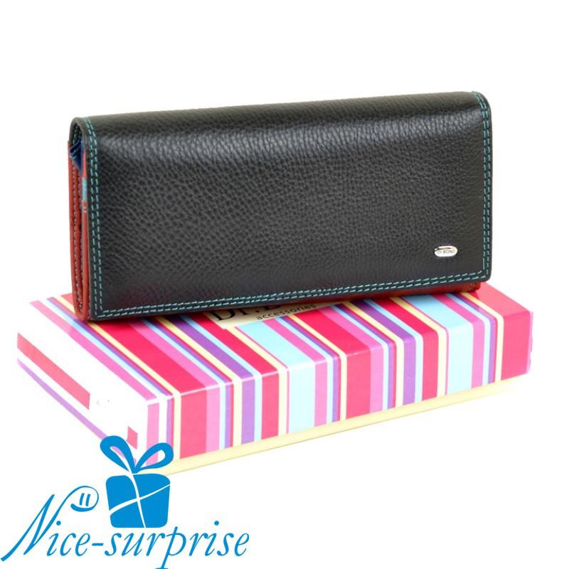 5b5202fd6491 Кожаный женский кошелёк на кнопке Dr.Bond WR1-V black (серия Rainbow)