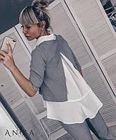 Женский стильный костюм в клетку брюки+ кофта мод.150