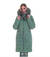 Пуховик зимний женский с мехом песец большого размера недорого в Украине интернет-магазин р. 42-56, фото 1