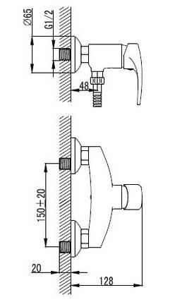 JESENIK змішувач для душа, хром, 35 мм 15140, фото 2