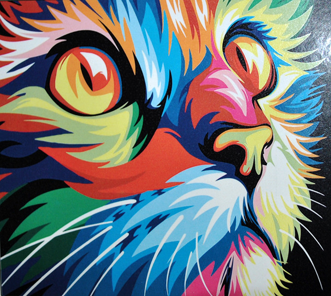 """Алмазная вышивка 40х30см на подрамнике 3D - набор """"Радужный котенок"""""""