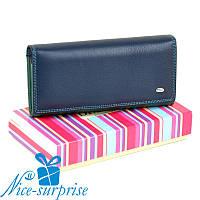 Кожаный женский кошелёк на кнопке Dr.Bond WR1-V blue (серия Rainbow), фото 1