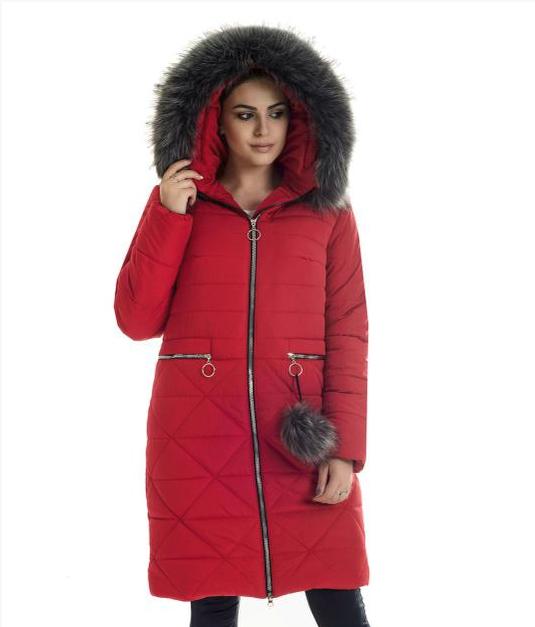 Пуховик зимний женский с мехом чернобурки иск. большого размера недорого в Украине интернет-магазин р. 42-56