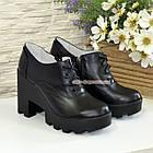 Туфли женские кожаные на шнуровке, высокий каблук, цвет черный