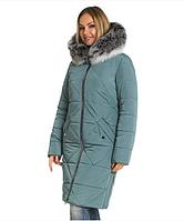 Пуховик зимний женский с натуральным мехом песец большого размера недорого в Украине интернет-магазин р. 42-60, фото 1