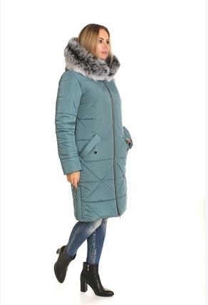 Пуховик зимний женский с натуральным мехом песец большого размера недорого в Украине интернет-магазин р. 42-60, фото 2