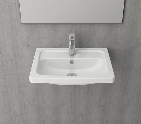 Умивальник 57x43 BOCCHI TAORMINA Pro білий глянцевий, фото 2