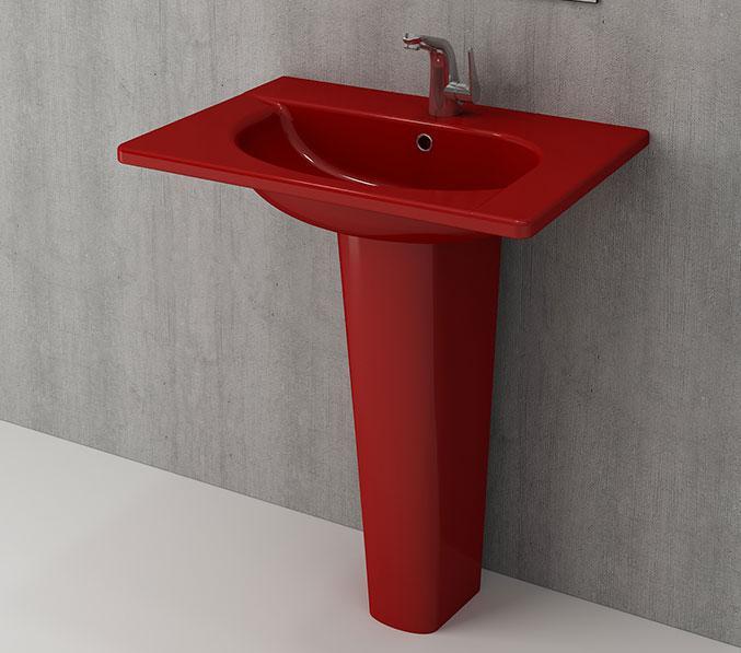 Умивальник 65x45 BOCCHI Taormina Arch Lavabo без ніжки 60, червоний, Новое