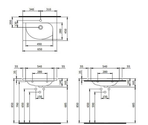 Умивальник 65x45 BOCCHI Taormina Arch Lavabo без ніжки 60, антрацит матовий, Новое, фото 2