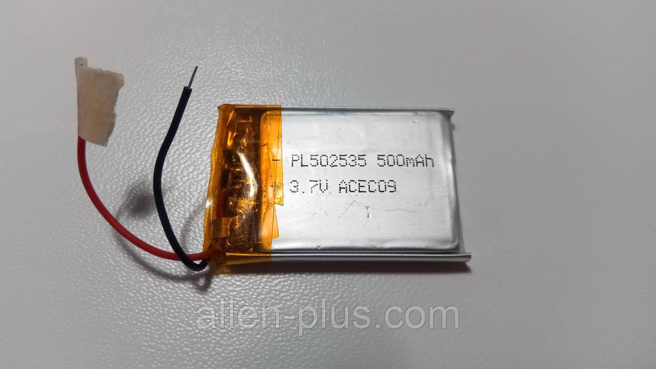Акумулятор з контролером заряду Li-Pol PL502535 3,7 V 375 mAh (5*25*35 мм)
