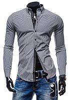 Рубашка мужская серая в клетку