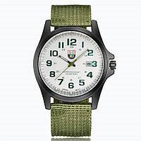 Мужские армейские часы зеленые с белым циферблатом , фото 1