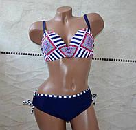Красивый стильный синий женский купальник, раздельный на завязках, открытый, формовая чашка, размер L.