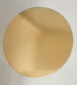 Подложка круг 24 см уплотненная 3мм, Золото/черная, 3 мм.