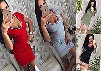 Трикотажное женское платье с V-вырезом размер 42 по 48, фото 1