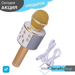 Bluetooth микрофон-караоке WS-858 с динамиком (колонкой), слотом USB и FM тюнером