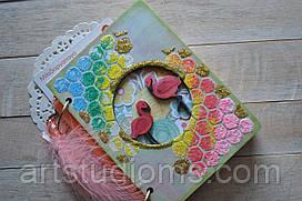 """Блокнот ручной работы с деревянной обложкой """"Фламинго"""""""