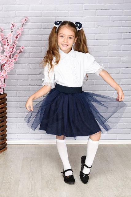Школьная юбка  на резинке с фатином
